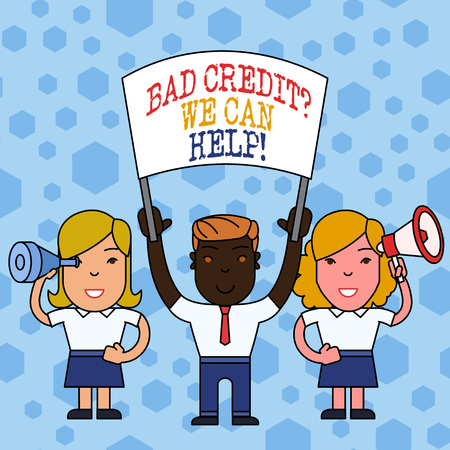 Word writing text Bad Credit Question We Can Help. Business photo showcasing offering help after going for loan then rejected