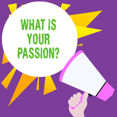 Writing note showing What Is Your Passion Question. Business concept for asking about his strong and barely controllable emotion Banco de Imagens