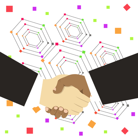 Hand Shake Multiracial Male Business Partners Colleagues Formal Black Suits Design business concept Empty copy space modern abstract background