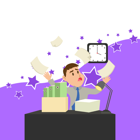 Confused Male Employee Manager Cluttered Workspace Overflow Time Shortage Business concept Empty template copy space isolated Posters coupons promotional material
