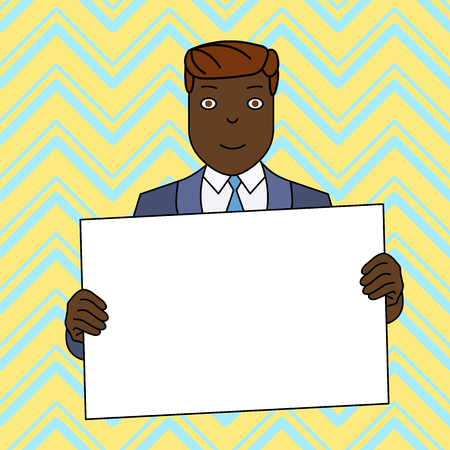 Smiling Man Holding Formal Suit Big Blank Poster Board in Front of Himself Design business concept Empty copy space modern abstract background