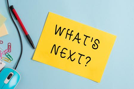 Texte de l'écriture écrit Quelle S Question suivante. Photo conceptuelle demandant la démonstration de ses actions ou comportements à venir
