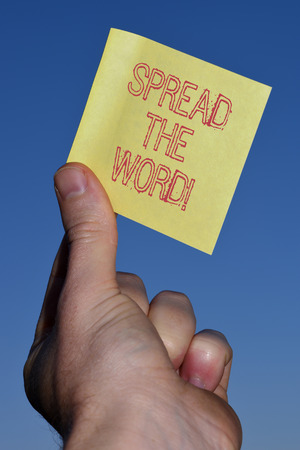 Text sign showing Spread The Word. Business photo text share the information or news using social media