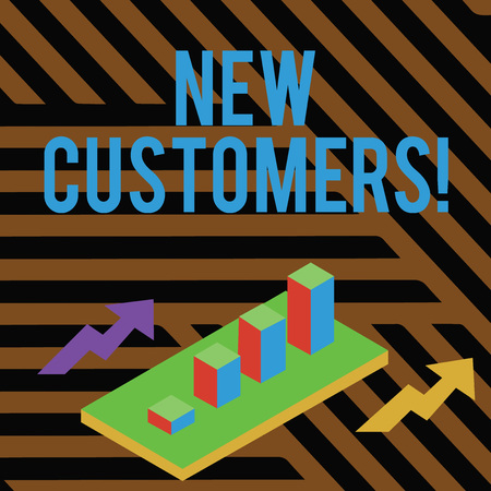 Text sign showing New Customers. Business photo showcasing an entity that has not previously purchased one s is goods Colorful Clustered 3D Bar Chart Graph Diagram in Perspective with Two Arrows Stock fotó