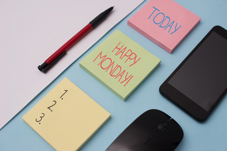 Writing note showing Happy Monday. Business concept for telling that demonstrating order to wish him great new week Note papers and stationary plus gadgets placed sideways above backdrop