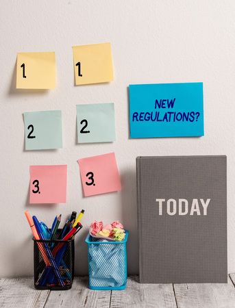Text sign showing New Regulations Question. Business photo text rules made government order control way something is done Stock fotó