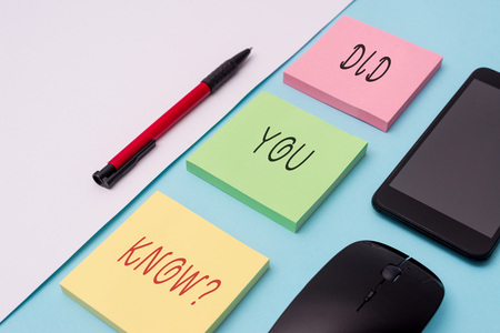 Word writing text Did You Know Question. Business photo showcasing when you are asking someone if they know fact or event Note papers and stationary plus gadgets placed sideways above backdrop