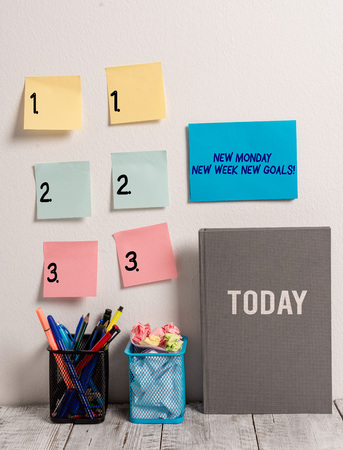 Text sign showing New Monday New Week New Goals. Business photo text goodbye weekend starting fresh goals targets Stock fotó