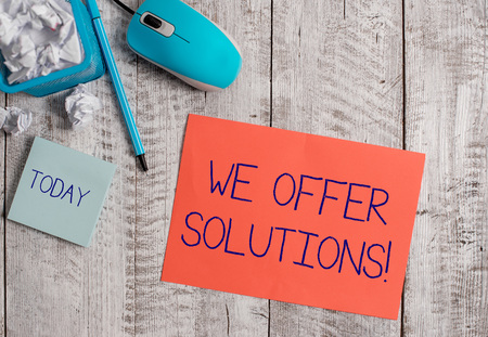 Word writing text We Offer Solutions. Business photo showcasing way to solve problem or deal with difficult situation