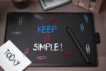 Word writing text Keep It Simple. Business photo showcasing ask something easy understand not go into too much detail Stock Photo