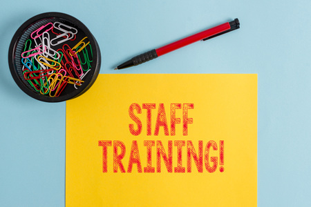 Text sign showing Staff Training. Business photo text learn specific knowledge improve perforanalysisce in current roles 版權商用圖片 - 123058790