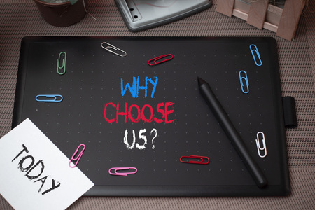 Word writing text Why Choose Us Question. Business photo showcasing list of advantages and disadvantages to select product service