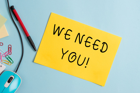 Handwriting text writing We Need You. Conceptual photo asking someone to work together for certain job or target 版權商用圖片