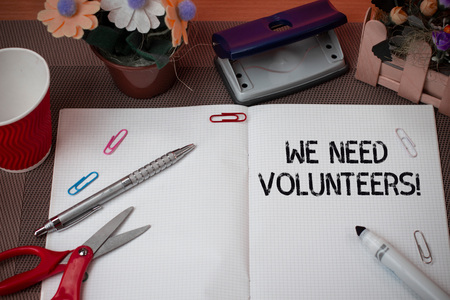 Handwriting text We Need Volunteers. Conceptual photo someone who does work without being paid for it Stock fotó