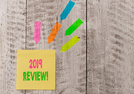 Conceptual hand writing showing 2019 Review  Concept meaning