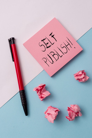 Writing note showing Self Publish. Business concept for writer publish piece of ones work independently at own expense Note papers and stationary placed sideways on top of softhued backdrop