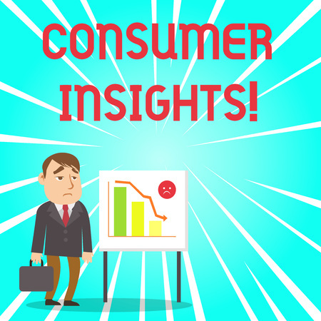Handwriting text Consumer Insights. Conceptual photo understanding customers based on their buying behavior Businessman Clerk with Brief Case Standing Whiteboard Declining Bar Chart Фото со стока
