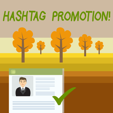 Conceptual hand writing showing Hashtag Promotion. Concept meaning more showing can discover and engage with your content Curriculum Vitae Resume of Candidate Marked by Color Mark Stockfoto - 123127156