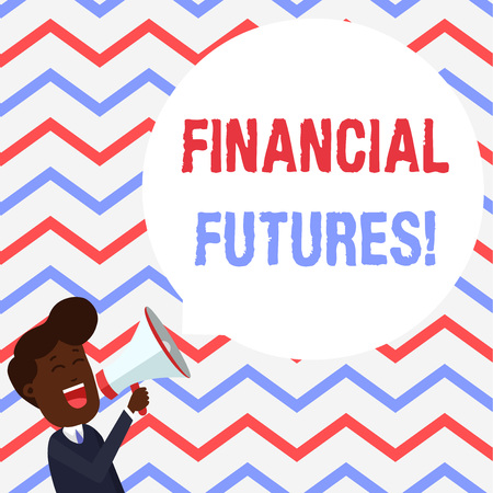 Handwriting text Financial Futures. Conceptual photo contract to buy or sell something such as foreign currency Young Man Shouting into Megaphone Floating Round Shape Empty Speech Bubble 免版税图像