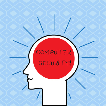 Handwriting text writing Computer Security. Conceptual photo protection of computer systems from theft or damage Outline Silhouette Human Head Surrounded by Light Rays Blank Text Space