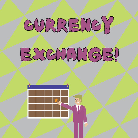 Handwriting text writing Currency Exchange. Conceptual photo rate at which one currency will be exchanged for another Businessman Smiling and Pointing to Colorful Calendar with Star Hang on Wall 写真素材
