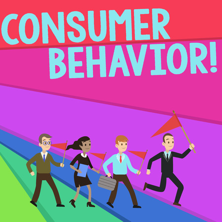 Text sign showing Consumer Behavior. Business photo text study of how individual customers interacts with the brand People Crowd Flags Pennants Headed by Leader Running Demonstration Meeting