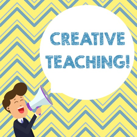 Conceptual hand writing showing Creative Teaching. Concept meaning making something fine out of learning situations Young Man Shouting in Megaphone Floating Round Speech Bubble Stockfoto - 123127539