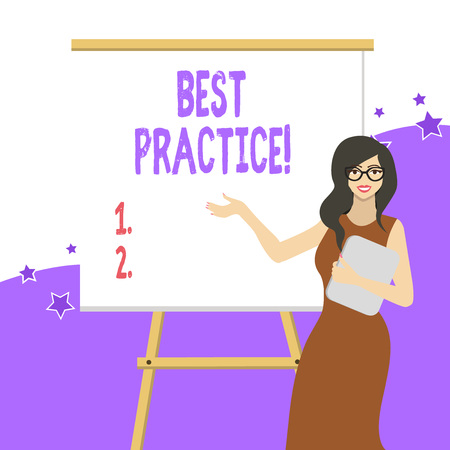 Handwriting text writing Best Practice. Conceptual photo commercial procedures that are accepted prescribed being correct White Female in Glasses Standing by Blank Whiteboard on Stand Presentation