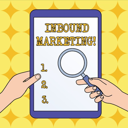 Text sign showing Inbound Marketing. Business photo text a strategy that focuses on attracting customers or leads Hands Holding Magnifying Glass Against Switched Off Touch Screen Tablet Stockfoto - 123127618