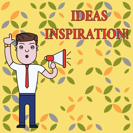 Text sign showing Ideas Inspiration. Business photo text feeling of enthusiasm you get from someone or something Man Standing with Raised Right Index Finger and Speaking into Megaphone Stockfoto