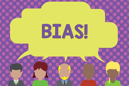 Text sign showing Bias. Business photo showcasing inclination or prejudice for or against one demonstrating group Five different races persons sharing blank speech bubble. People talking
