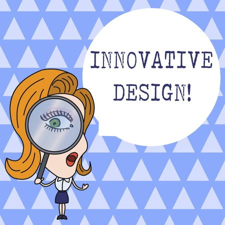 Text sign showing Innovative Design. Business photo showcasing application of better solutions that meet new requirements Woman Looking Trough Magnifying Glass Big Eye Blank Round Speech Bubble