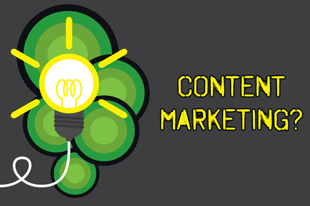Text sign showing Content Marketing question. Business photo showcasing involves creation and sharing of online material Big idea light bulb. Successful turning idea invention innovation. Startup