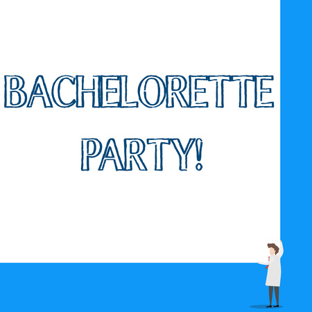 Conceptual hand writing showing Bachelorette Party. Concept meaning a party given for a woanalysis who is about to get married Professor wear white coat red tie hold big board using hands