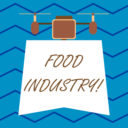 Text sign showing Food Industry. Business photo text Diverse businesses that supplies food to worlds population Modern unique design of night lampshade with two air blowers on the top