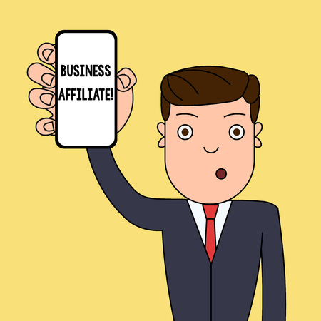Writing note showing Business Affiliate. Business concept for one company is a minority shareholder of another Man Holding Vertical Smartphone Device Screen for Attention Stockfoto