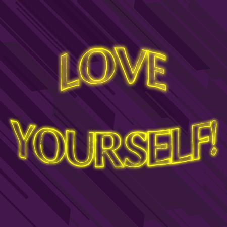 La scrittura della nota mostra l'amore per te stesso. Il concetto di business per avere il rispetto di sé e l'autoaccettazione incondizionata Archivio Fotografico