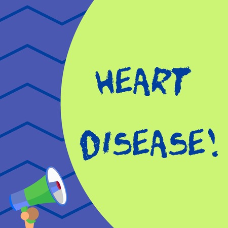 Word writing text Heart Disease. Business photo showcasing class of diseases that involve the heart or blood vessels Old design of speaking trumpet loudspeaker for talking to audience outdoor