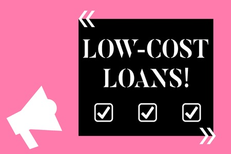 Text sign showing Low Cost Loans. Business photo text loan that has an interest rate below twelve percent Isolated Megaphone Pointing Upward to Empty Text Box in Quotation Marks Imagens