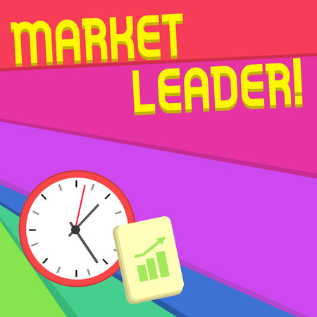 Text sign showing Market Leader. Business photo text company selling the largest quantity of a particular product Layout Wall Clock Notepad with Escalating Bar Graph and Arrow Pointing Up