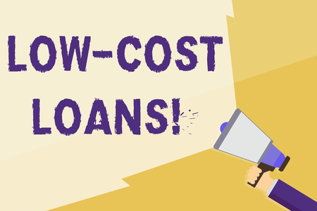 Writing note showing Low Cost Loans. Business concept for loan that has an interest rate below twelve percent Hand Holding Megaphone with Wide Beam Extending the Volume Imagens