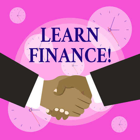 Conceptual hand writing showing Learn Finance. Concept meaning study which figures out how showing and business uses money Hand Shake Multiracial Male Business Partners Formal Suits 写真素材