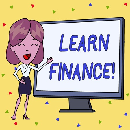 Handwriting text writing Learn Finance. Conceptual photo study which figures out how showing and business uses money White Female in Standing Pointing Blank Screen Whiteboard Presentation