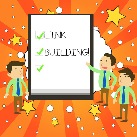 Writing note showing Link Building. Business concept for process of acquiring hyperlinks from other website to your own Business Colleagues Discuss Missions Presentation Whiteboard Ticks