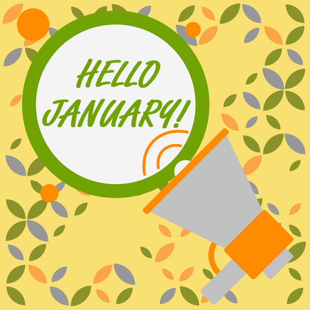Word writing text Hello January. Business photo showcasing a greeting or warm welcome to the first month of the year SpeakingTrumpet Empty Round Stroked Speech Text Balloon Announcement