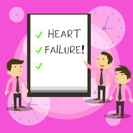 Conceptual hand writing showing Heart Failure. Concept meaning the severe failure of the heart to function properly Business Colleagues Discuss Missions Presentation Whiteboard Ticks