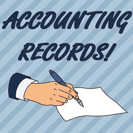 Writing note showing Accounting Records. Business concept for Manual or computerized records of assets and liabilities Male Hand Formal Suit Holding Ballpoint Pen Piece of Paper Writing Stockfoto