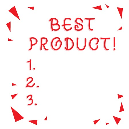 Text sign showing Best Product. Business photo showcasing very popular and a large quantity of it has been sold Red Confetti Shrapnel Glass Pieces Scattered in Corners Empty Copy Space Archivio Fotografico