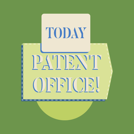 Word writing text Patent Office. Business photo showcasing a government office that makes decisions about giving patents Archivio Fotografico