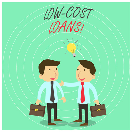 Text sign showing Low Cost Loans. Business photo text loan that has an interest rate below twelve percent Two White Businessmen Colleagues with Brief Cases Sharing Idea Solution